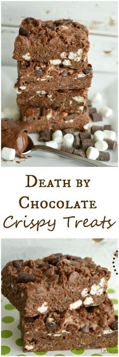 Death By Chocolate Crispy Treats You can't go wrong by adding Nutella, chocolate chunks, chocolate chips, chocolate crispies to rice crispy treats! Little Dairy on the Prairie Chocolate Crispies, Chocolate Chips, Chocolate Fudge, Rice Krispy Treats Recipe, Rice Krispie Treats, Dessert Simple, Yummy Treats, Sweet Treats, Yummy Food