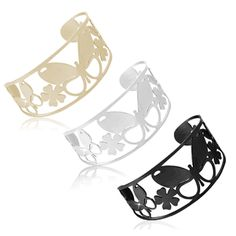 $9.99 - Stainless Steel Butterfly Design Small Cuff Bangle - Black, Silver, or Gold