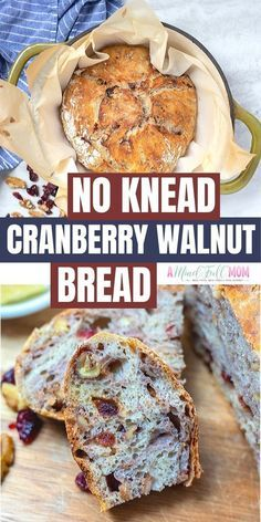 There is nothing better than a slice of this Cranberry Walnut Bread when it is warm from the oven! Sweet and chewy, studded with dried cranberries and walnuts, this bread is the perfect base for… Artisan Bread Recipes, Dutch Oven Recipes, Baking Recipes, Real Food Recipes, Dutch Oven Meals, Chicken Recipes, Pastry Recipes, Chef Recipes, Kitchen Recipes