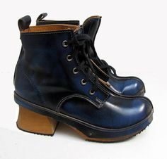 Vintage John Fluevog Shoes Womens Blue Leather by Atomicfireball, $135.00