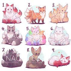 Cute Kawaii Animals, Cute Animal Drawings Kawaii, Cute Cartoon Drawings, Kawaii Art, Cute Fox Drawing, Cute Fantasy Creatures, Mythical Creatures Art, Cute Creatures, Fox Art