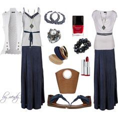 love the maxi skirts. couldn't decide on a shirt, love the layered tanks and vest but still, created by wendyfer on Polyvore