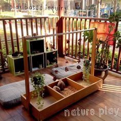 """We are always looking for ways to encourage our children to engage with nature in their play, how do you incorporate natural elements into your centres?"" Play Based Inquiry ≈≈ http://www.pinterest.com/kinderooacademy/provocations-inspiring-classrooms/"