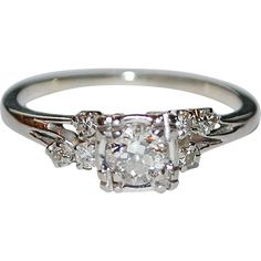 Early Art Deco Diamond 18K White Gold Engagement Ring Vintage