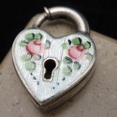 Heart Shaped Padlock Charm Vintage Sterling Silver Enamel Engraved GINNY   eBay