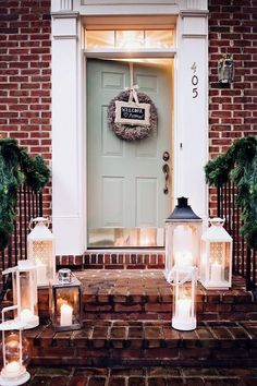 Front Door Paint Colors - Want a quick makeover? Paint your front door a different color. Here a pretty front door color ideas to improve your home's curb appeal and add more style! Door Paint Colors, Exterior Paint Colors, Exterior House Colors, Paint Colors For Home, Exterior Doors, Wall Exterior, Exterior Trim, Green Front Doors, Painted Front Doors