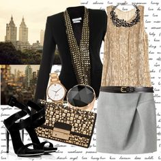 """""""Black and gold"""" by applegirl ❤ liked on Polyvore"""