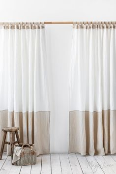 Tab top linen curtain panel in two colors. Colour block window or door curtain i… Tab top linen curtain panel