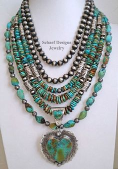 Layers of turquoise & Navajo Pearls topped off with a Large Kingman Turquoise heart pendant. Southwestern Basics boho style at Schaef Designs Jewelry online Sterling Silver Jewelry, Silver Earrings, Silver Ring, Silver Bracelets, Cuff Bracelets, Earrings Uk, Bracelet Charms, Pearl Necklaces, Gemstone Earrings