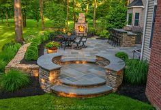 New backyard fireplace patio stone walls ideas Backyard Patio Designs, Pergola Patio, Backyard Landscaping, Backyard Ideas, Landscaping Ideas, Backyard Projects, Pergola Kits, Back Yard Patio Ideas, Backyard Retreat