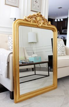 antique reproduction Louis Philippe gilt mirror, antique French gilt mirror beading detail