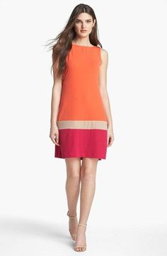 Donna Morgan Colorblock Matte Jersey Shift Dress available at Source by dresses Simple Dresses, Beautiful Dresses, Casual Dresses, Short Dresses, Fashion Dresses, Linen Dresses, Cotton Dresses, Mode Ab 50, Vetement Fashion