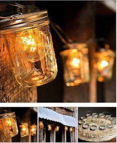 Making patio lights with mason jars and globe lights. #PatioLights #MasonJarLights
