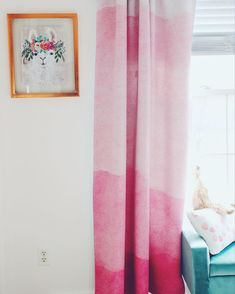 How pretty are the dip dyed ombre curtains! Pink And Green Nursery, Pastel Nursery, White Nursery, Girl Nursery, Flamingo Nursery, Boho Nursery, Nursery Furniture Sets, Modern Nursery Decor, Nursery Wall Decor