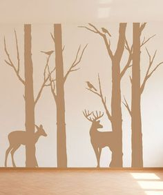 For Deer Run... Turn any room into a serene sanctuary with the addition of these contemporary tree silhouette decals. Understated and elegant, they lend a professional feel to a space and are easy to remove when it comes time to redecorate.
