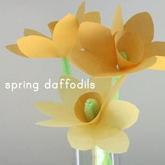 There's nothing that reminds me of Spring more than daffodils, but sadly ours have already come and gone early this year. With the first day of Spring coming up I thought we'd make some simple paper daffodils to brighten the house. I think this would make a great craft project for a birthday party because it's