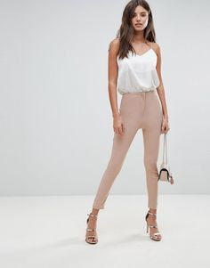 Buy ASOS DESIGN high waist trousers in skinny fit at ASOS. With free delivery and return options (Ts&Cs apply), online shopping has never been so easy. Get the latest trends with ASOS now. Asos, Cool Shapes, Moda Online, Dress Codes, Skinny Fit, Fitness Fashion, White Jeans, Fashion Online, Latest Trends