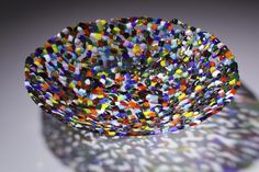 """Drizzle bowl - Multi Kiln-formed glass Cold-worked 14"""" diameter © Linda Cardell"""