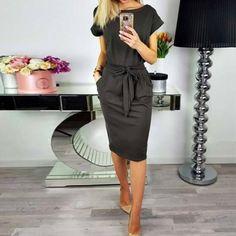 4a9d1964f0 Knee-Length Tie Front Short Sleeve Casual Sundress. Fashion ClothesWomen's  Summer ...
