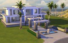 Mod The Sims - Modern Hills - No CC Source by stregonia Minecraft Modern Mansion, Minecraft House Plans, Sims 4 House Plans, Sims 4 House Building, Minecraft Cottage, Easy Minecraft Houses, Minecraft House Tutorials, Minecraft City, Minecraft House Designs