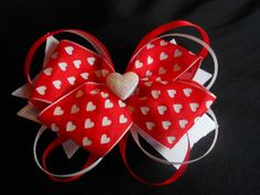 red and white valentine hair bow by GrandmasBowsonETSY on Etsy, $8.00