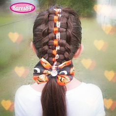 """Zipper Braid with Ribbons  Pumpkin Bow made by me  #ZipperBraid #halloween #halloweenhairchallenge #pumpkin  #HalloweenHair #halloweenbows"" Photo taken by @kares84 on Instagram, pinned via the InstaPin iOS App! http://www.instapinapp.com (10/10/2015)"