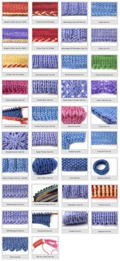 Fantastic visual reference guide to different knitted cast ons Types Of Knitting Stitches, Knitting And Crocheting, Loom Knitting Scarf, Different Crochet Stitches, Loom Knitting Patterns, Casting On Stitches, Knitting Stiches, Knitting Needles, Stitch Patterns