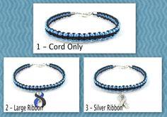 Black and Blue Awareness Bracelet Macrame by EledesignbyLauren, $6.00