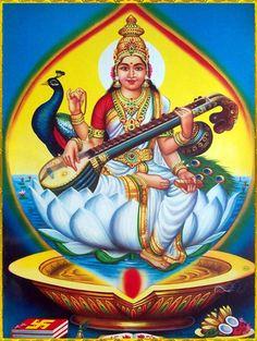 SARASVATI DEVI ॐ Saraswati Goddess, Durga Maa, Shree Krishna, Divine Goddess, Lakshmi Images, Vintage India, Embroidery Motifs, Hindu Art, Sacred Art