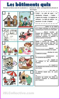 Vocabulary matching quiz - French building words.
