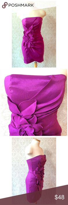 """JESSICA McCLINTOCK PARTY DRESS Very pretty prom dress in bright plum. Size says 4 fits like a 2 too tight at bust for my 32"""" mannequin. Won't fall down has stays at bust   Polyester with 5% Spandex. Length from armpit is 25"""" 15"""" across at chest.  Worn once excellent condition Jessica McClintock Dresses Strapless"""