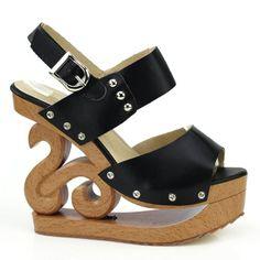 Show Story Black Slingback Open Toe Stud Wooden Wedges Platform Clogs Sandals,LF30808BK40,9US,Black