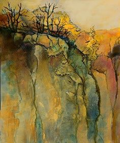 "Mixed Media Artists International: Abstract Mixed Media Landscape Art Painting ""Color Study 5"" by Colorado Mixed Media Abstract Artist Carol Nelson"