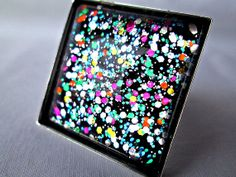 Rainbow Confetti Glass Ring Handmade Glitter by TheHowlingBoutique, $18.00