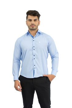 Camisa Social Masculina Azul Claro