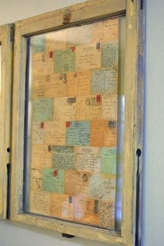 DIY:  Frame grandma's handwritten recipes in a salvaged window.  This is a great idea! #home #decor