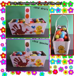 Panier de Pâques réalisé avec une boîte de pomme pot