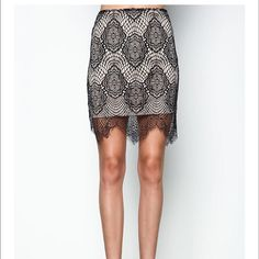 NWT Black Eyelash Lace Skirt Beautiful black eyelash lace Love Culture skirt with scalloped lace hem and high rise fit. Side zip up with fully lined interior. Will look great for the office with a black tank and black blazer or for a sexy night out with a black or colored crop top! 100% Nylon. Size: M Love Culture Skirts