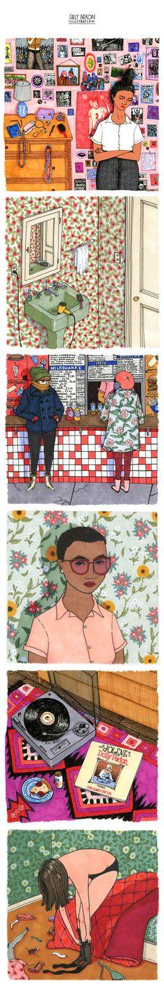 Minha obsessão do momento: os temas, padrões, detalhes (e as meninas!) da Sally Nixon. Maravilhoso trabalho de ilustração!