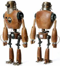 Vintage robot from Stephane Halleux Robots Vintage, Retro Robot, Steampunk Mechanic, Steampunk Robots, Art Haus, Sculpture Metal, Collage Sculpture, Robots Characters, Arte Robot