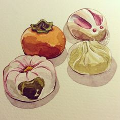 Wagashi #watercolours #wip #painting #illustration #food #japanesefood #pastries #japan | Flickr - Photo Sharing!