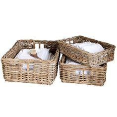 Chunky Rattan Rectangular Basket | TOBS Remote Control Holder, Rectangular Baskets, Bathroom Baskets, Paper Tray, Functional Kitchen, Paper Basket, Bottles And Jars, Storage Baskets, Wicker Baskets