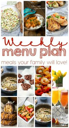 Weekly Meal Plan Week 24 - 10 great bloggers bringing you a full week of recipes including dinner, sides dishes, drinks and desserts!