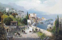 Robert Alott (1850-1910), Sentier Côtier fréquenté dans la Baie de Naples.