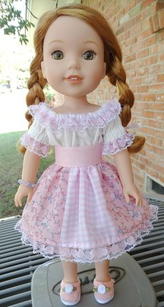 14.5 Doll Clothes Pretty Pink Patchwork Skirt by Designed4Dolls