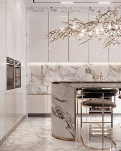 Luxury Kitchen Design, Kitchen Room Design, Home Room Design, Luxury Kitchens, Home Decor Kitchen, Interior Design Kitchen, Modern Interior Design, Cuisines Design, Küchen Design