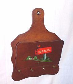 "Vintage Mid Century ""Our Mail"" Wood Mail Key Rack Organizer"