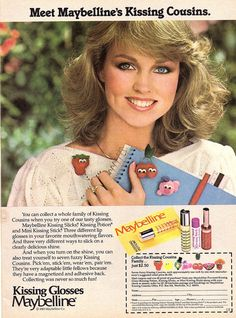 """Meet Maybelline's Kissing Cousins.""  Kissing Glosses Maybelline  Vintage advertisement from 1983"