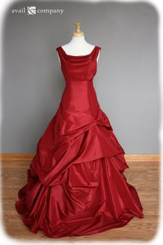 Red Wedding Dress Ball Gown, Silk Taffeta, Custom Made to Order in your size. $1,350.00, via Etsy.