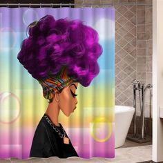 High Quality Custom African Woman Shower Curtain Black Shower Curtains, Purple Hair, African Women, Home Kitchens, Hairstyle, Hair Style, Hairstyles, Lilac Hair, Updo